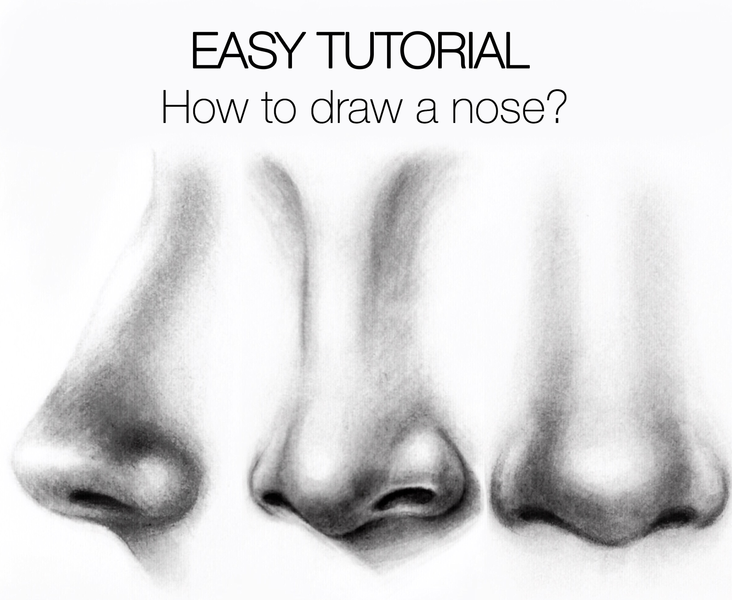 Easy tutorial how to draw a nose silvie mahdal the art of pencil